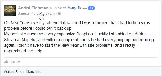 magefix facebook testimonial 5
